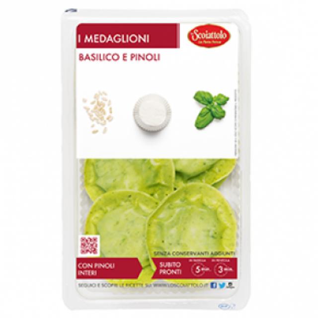 Scoiattolo bazsalikomos-fenyőmagos medaglion töltött tészta  250g